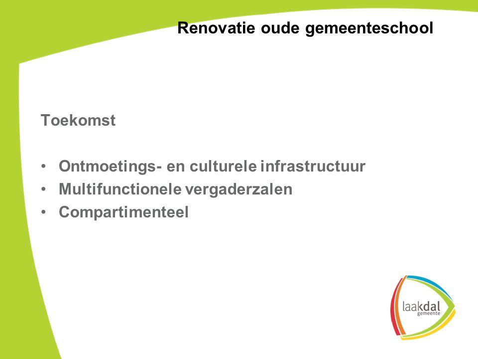 Toekomst Ontmoetings- en culturele infrastructuur Multifunctionele vergaderzalen Compartimenteel Renovatie oude gemeenteschool