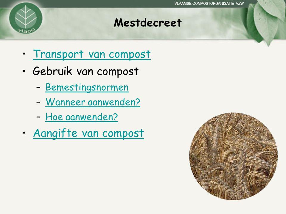 VLAAMSE COMPOSTORGANISATIE VZW Mestdecreet Transport van compost Gebruik van compost –BemestingsnormenBemestingsnormen –Wanneer aanwenden?Wanneer aanw