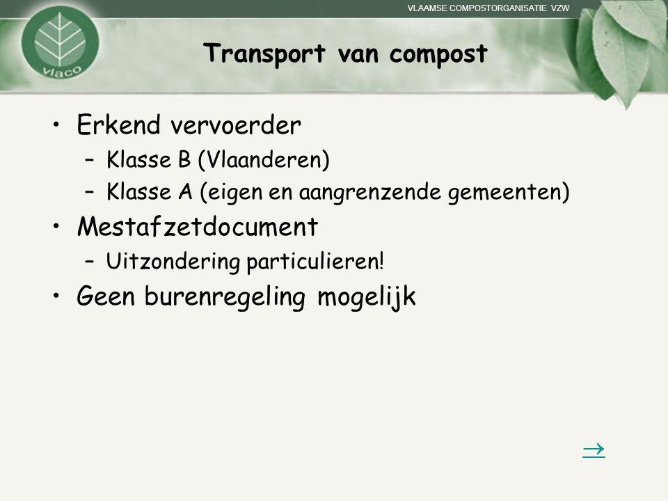 VLAAMSE COMPOSTORGANISATIE VZW Transport van compost Erkend vervoerder –Klasse B (Vlaanderen) –Klasse A (eigen en aangrenzende gemeenten) Mestafzetdoc