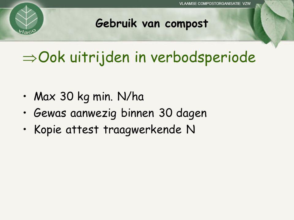 VLAAMSE COMPOSTORGANISATIE VZW Gebruik van compost  Ook uitrijden in verbodsperiode Max 30 kg min. N/ha Gewas aanwezig binnen 30 dagen Kopie attest t