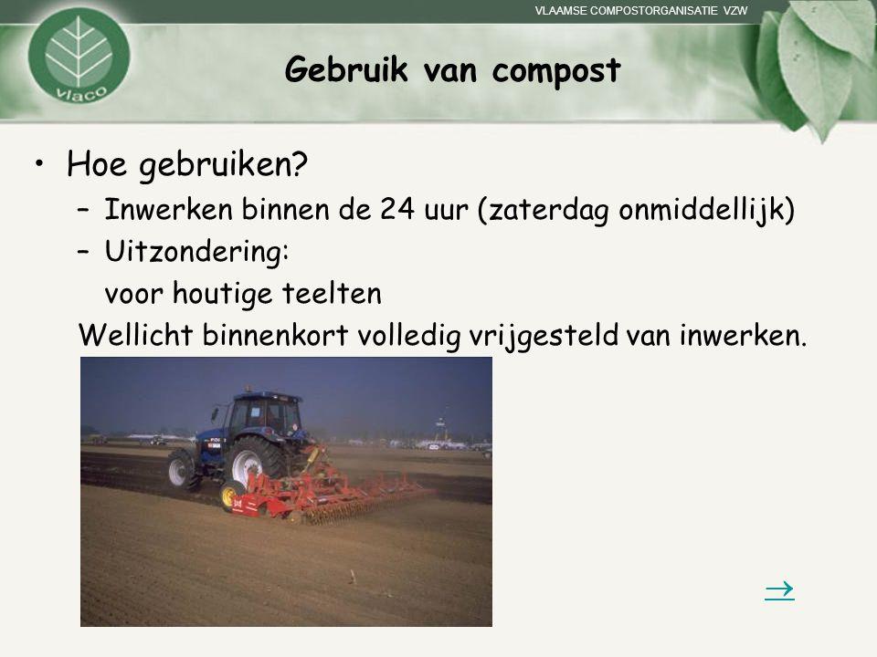 VLAAMSE COMPOSTORGANISATIE VZW Gebruik van compost Hoe gebruiken? –Inwerken binnen de 24 uur (zaterdag onmiddellijk) –Uitzondering: voor houtige teelt
