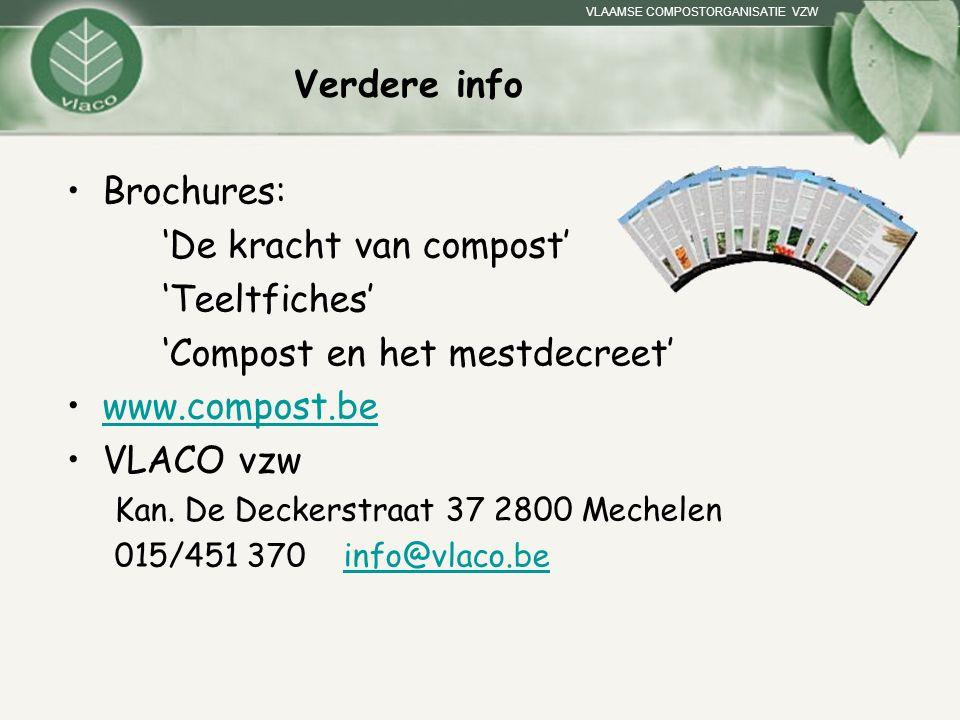 VLAAMSE COMPOSTORGANISATIE VZW Verdere info Brochures: 'De kracht van compost' 'Teeltfiches' 'Compost en het mestdecreet' www.compost.be VLACO vzw Kan