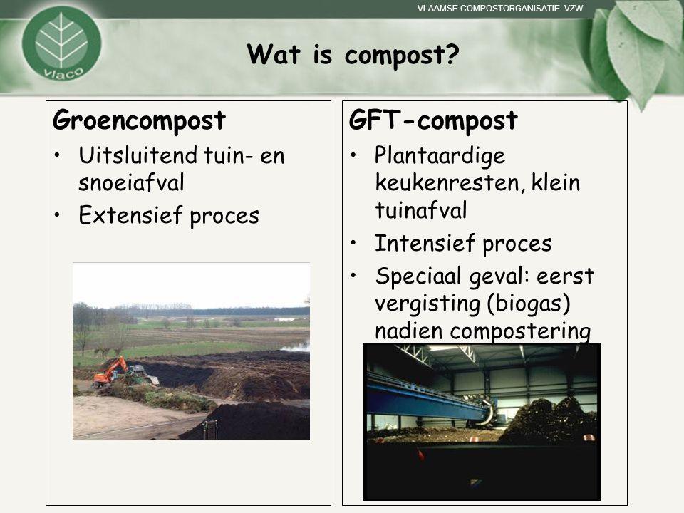 VLAAMSE COMPOSTORGANISATIE VZW Wat is compost? Groencompost Uitsluitend tuin- en snoeiafval Extensief proces GFT-compost Plantaardige keukenresten, kl