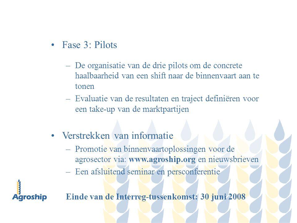 Fase 3: Pilots –De organisatie van de drie pilots om de concrete haalbaarheid van een shift naar de binnenvaart aan te tonen –Evaluatie van de resulta