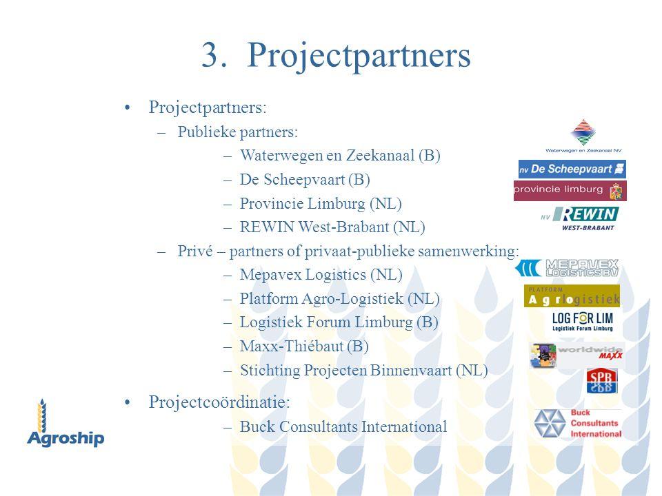 3. Projectpartners Projectpartners: –Publieke partners: –Waterwegen en Zeekanaal (B) –De Scheepvaart (B) –Provincie Limburg (NL) –REWIN West-Brabant (