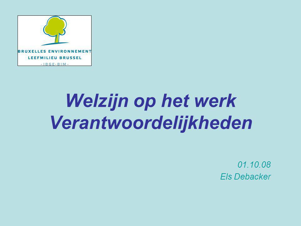 Welzijn op het werk Welzijnswet (04.08.96) : al het nodige doen wat vereist is om de welzijn te garanderen en te bevorderen bij de uitvoering van het werk KB van 27.03.98 : Beleid o.v.v.