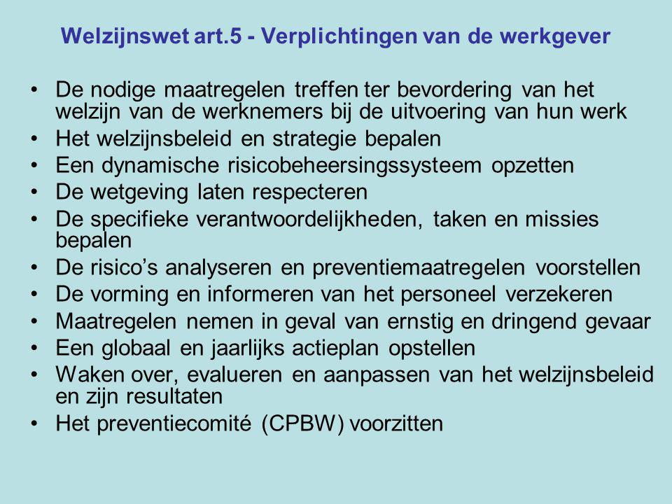Welzijnswet art.5 - Verplichtingen van de werkgever De nodige maatregelen treffen ter bevordering van het welzijn van de werknemers bij de uitvoering