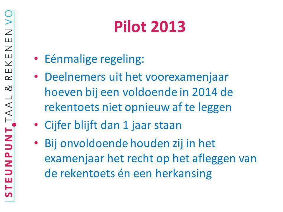 Pilot 2013 Eénmalige regeling: Deelnemers uit het voorexamenjaar hoeven bij een voldoende in 2014 de rekentoets niet opnieuw af te leggen Cijfer blijf