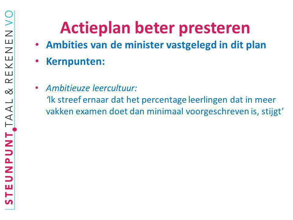 Actieplan beter presteren Ambities van de minister vastgelegd in dit plan Kernpunten: Ambitieuze leercultuur: 'Ik streef ernaar dat het percentage lee