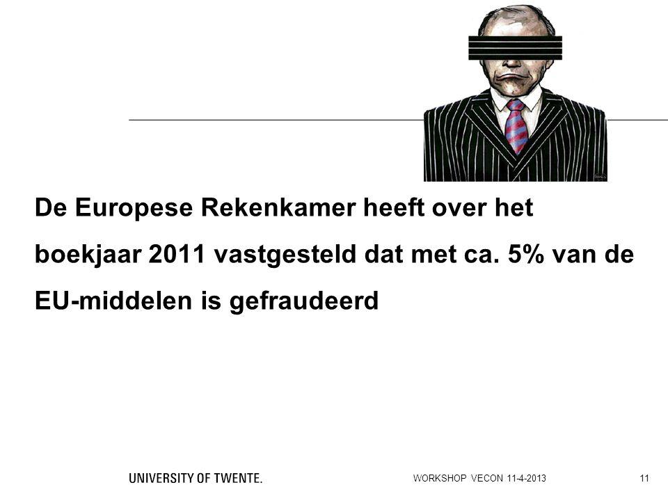 De Europese Rekenkamer heeft over het boekjaar 2011 vastgesteld dat met ca. 5% van de EU-middelen is gefraudeerd WORKSHOP VECON 11-4-2013 11