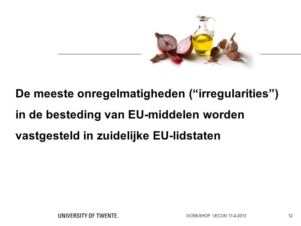 """De meeste onregelmatigheden (""""irregularities"""") in de besteding van EU-middelen worden vastgesteld in zuidelijke EU-lidstaten WORKSHOP VECON 11-4-2013"""