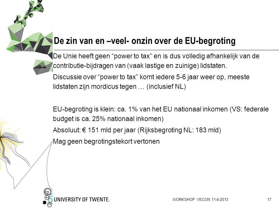 """De zin van en –veel- onzin over de EU-begroting De Unie heeft geen """"power to tax"""" en is dus volledig afhankelijk van de contributie-bijdragen van (vaa"""
