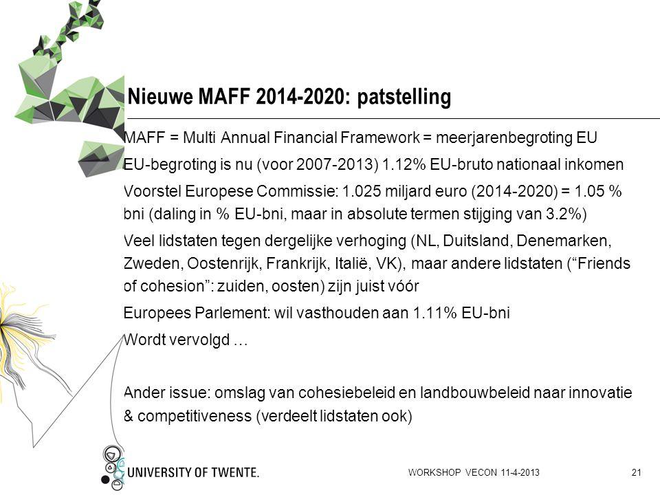 Nieuwe MAFF 2014-2020: patstelling MAFF = Multi Annual Financial Framework = meerjarenbegroting EU EU-begroting is nu (voor 2007-2013) 1.12% EU-bruto