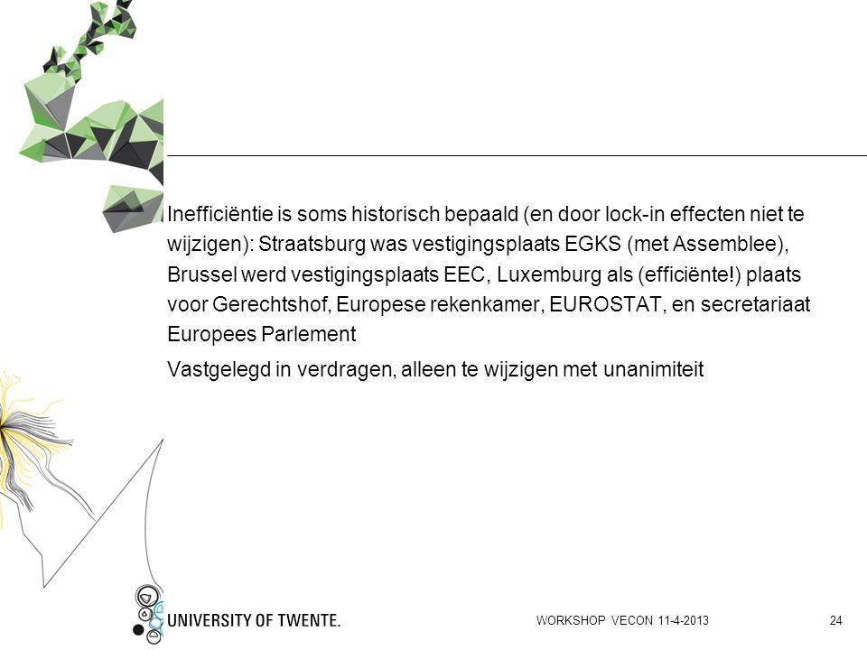 Inefficiëntie is soms historisch bepaald (en door lock-in effecten niet te wijzigen): Straatsburg was vestigingsplaats EGKS (met Assemblee), Brussel w