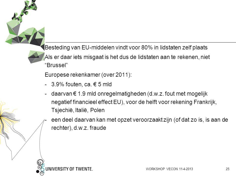 """Besteding van EU-middelen vindt voor 80% in lidstaten zelf plaats Als er daar iets misgaat is het dus de lidstaten aan te rekenen, niet """"Brussel"""" Euro"""