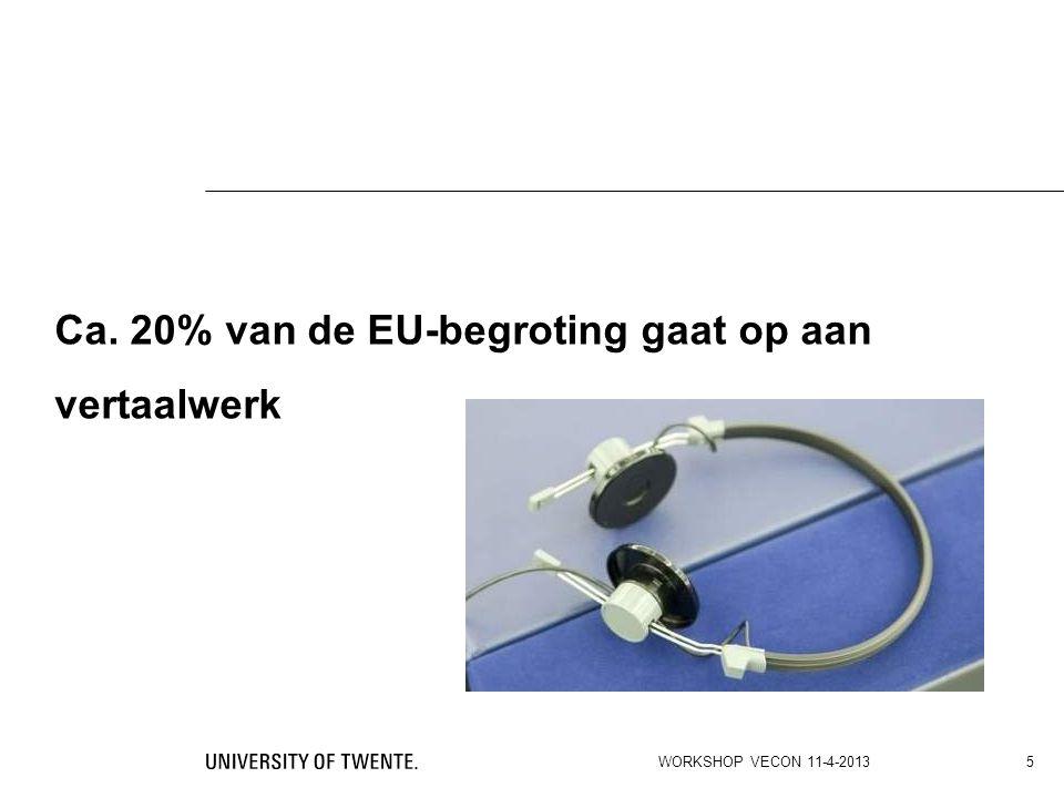 Ca. 20% van de EU-begroting gaat op aan vertaalwerk WORKSHOP VECON 11-4-2013 5