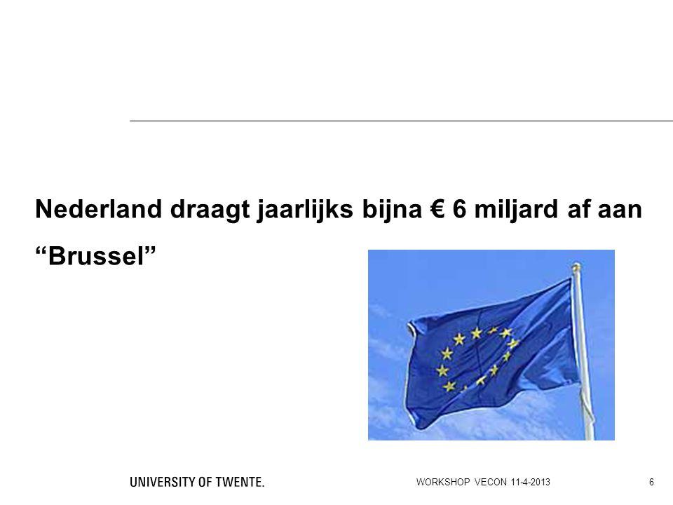 De zin van en –veel- onzin over de EU-begroting De Unie heeft geen power to tax en is dus volledig afhankelijk van de contributie-bijdragen van (vaak lastige en zuinige) lidstaten.