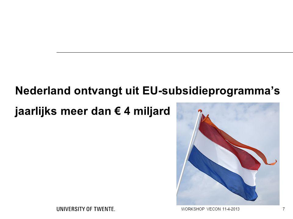 Nederland ontvangt uit EU-subsidieprogramma's jaarlijks meer dan € 4 miljard WORKSHOP VECON 11-4-2013 7
