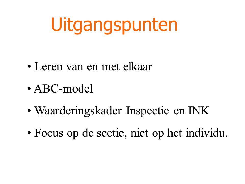 Uitgangspunten Leren van en met elkaar ABC-model Waarderingskader Inspectie en INK Focus op de sectie, niet op het individu.