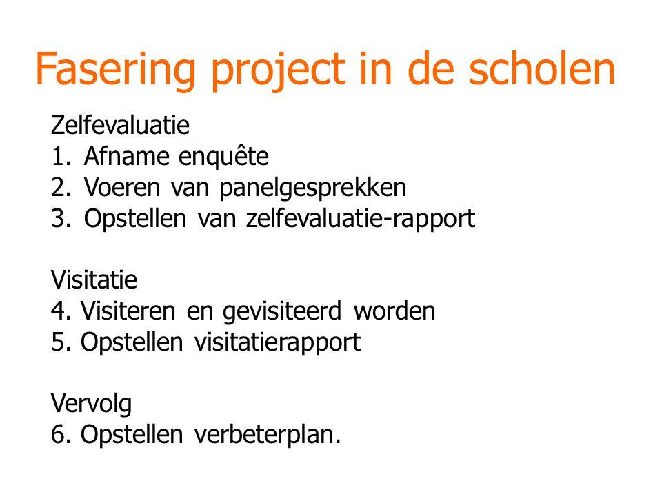 Fasering project in de scholen Zelfevaluatie 1.Afname enquête 2.Voeren van panelgesprekken 3.Opstellen van zelfevaluatie-rapport Visitatie 4.