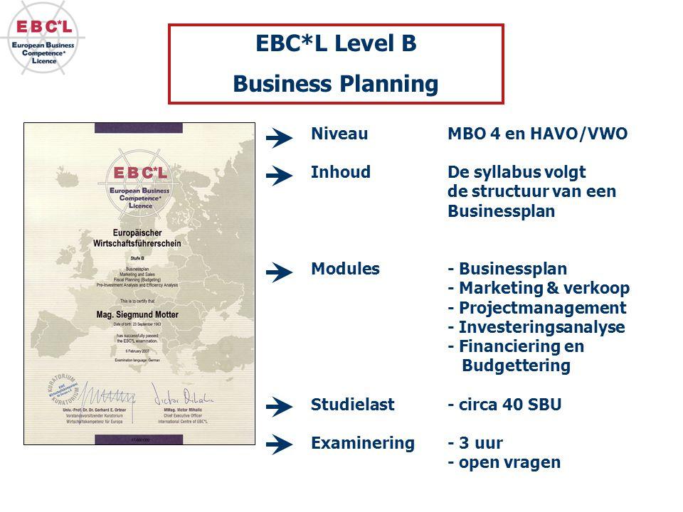 NiveauMBO 4 en HAVO/VWO Inhoud De syllabus volgt de structuur van een Businessplan Modules - Businessplan - Marketing & verkoop - Projectmanagement - Investeringsanalyse - Financiering en Budgettering Studielast- circa 40 SBU Examinering- 3 uur - open vragen EBC*L Level B Business Planning