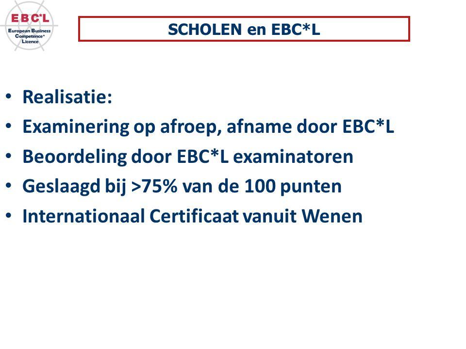 Realisatie: Examinering op afroep, afname door EBC*L Beoordeling door EBC*L examinatoren Geslaagd bij >75% van de 100 punten Internationaal Certificaat vanuit Wenen SCHOLEN en EBC*L