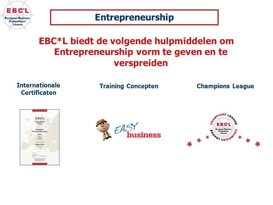 EBC*L biedt de volgende hulpmiddelen om Entrepreneurship vorm te geven en te verspreiden Internationale Certificaten Training Concepten Champions League Entrepreneurship