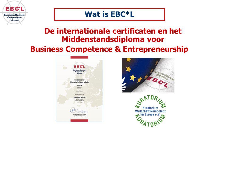 slechts 2 % Konden hun basis business management kennis bewijzen, die noodzakelijk is als basis voor  het begrijpen van de doelen van een onderneming (voor een intrapreneur)  het worden van een entrepreneur  het begrijpen van wat er in de wereld gebeurt (Globalisatie, etc.) Studie: Business Competence Waarom is EBC*L gestart