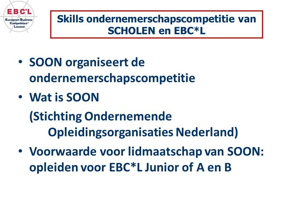 SOON organiseert de ondernemerschapscompetitie Wat is SOON (Stichting Ondernemende Opleidingsorganisaties Nederland) Voorwaarde voor lidmaatschap van SOON: opleiden voor EBC*L Junior of A en B Skills ondernemerschapscompetitie van SCHOLEN en EBC*L