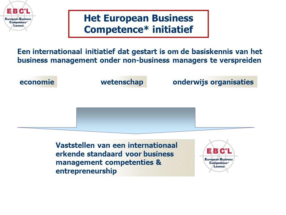 Een internationaal initiatief dat gestart is om de basiskennis van het business management onder non-business managers te verspreiden Vaststellen van een internationaal erkende standaard voor business management competenties & entrepreneurship economiewetenschaponderwijs organisaties Het European Business Competence* initiatief