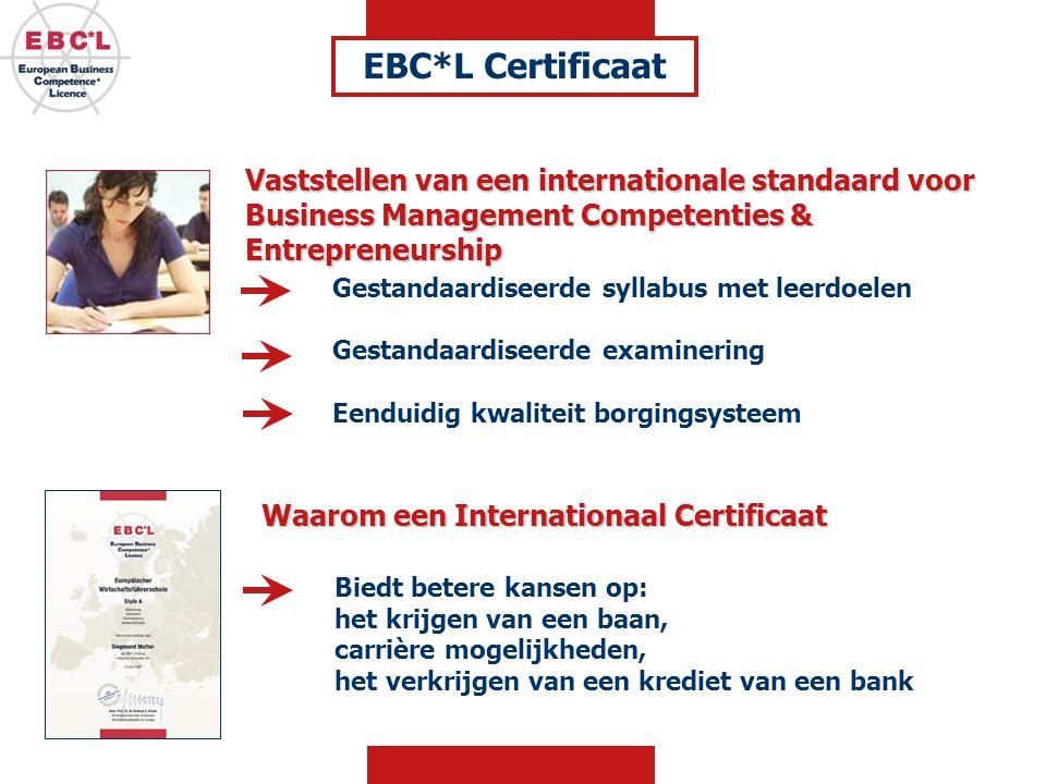 Vaststellen van een internationale standaard voor Business Management Competenties & Entrepreneurship EBC*L Certificaat Gestandaardiseerde syllabus met leerdoelen Gestandaardiseerde examinering Eenduidig kwaliteit borgingsysteem Waarom een Internationaal Certificaat Biedt betere kansen op: het krijgen van een baan, carrière mogelijkheden, het verkrijgen van een krediet van een bank