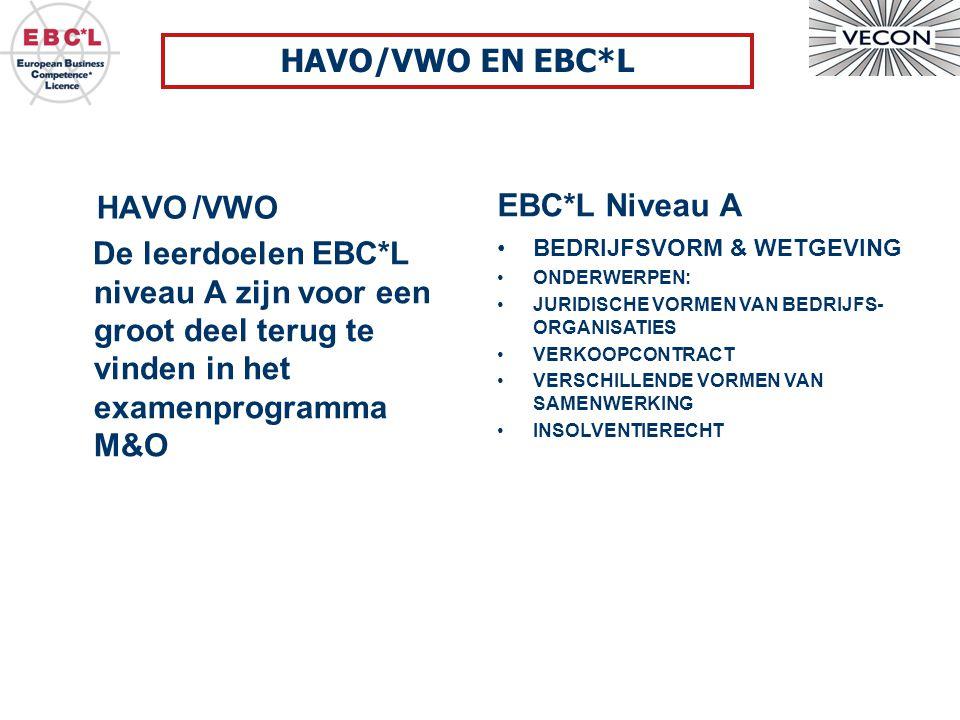 HAVO/VWO De leerdoelen EBC*L niveau A zijn voor een groot deel terug te vinden in het examenprogramma M&O EBC*L Niveau A HAVO/VWO EN EBC*L BEDRIJFSVORM & WETGEVING ONDERWERPEN: JURIDISCHE VORMEN VAN BEDRIJFS- ORGANISATIES VERKOOPCONTRACT VERSCHILLENDE VORMEN VAN SAMENWERKING INSOLVENTIERECHT