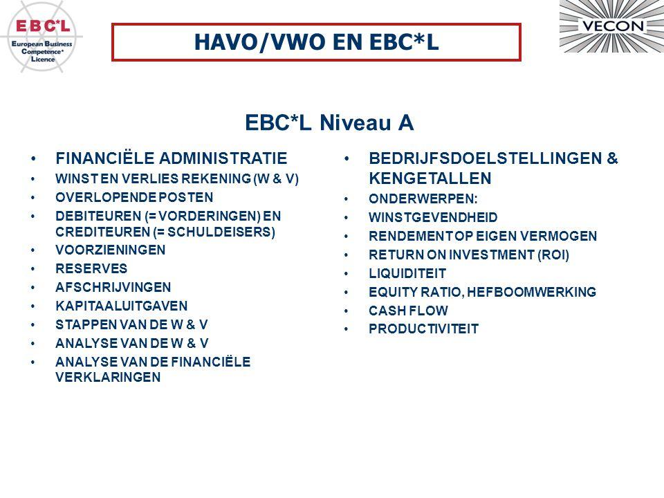 EBC*L Niveau A HAVO/VWO EN EBC*L BEDRIJFSDOELSTELLINGEN & KENGETALLEN ONDERWERPEN: WINSTGEVENDHEID RENDEMENT OP EIGEN VERMOGEN RETURN ON INVESTMENT (ROI) LIQUIDITEIT EQUITY RATIO, HEFBOOMWERKING CASH FLOW PRODUCTIVITEIT FINANCIËLE ADMINISTRATIE WINST EN VERLIES REKENING (W & V) OVERLOPENDE POSTEN DEBITEUREN (= VORDERINGEN) EN CREDITEUREN (= SCHULDEISERS) VOORZIENINGEN RESERVES AFSCHRIJVINGEN KAPITAALUITGAVEN STAPPEN VAN DE W & V ANALYSE VAN DE W & V ANALYSE VAN DE FINANCIËLE VERKLARINGEN