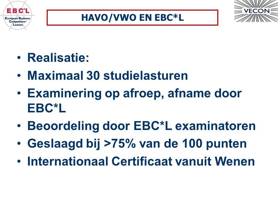 Realisatie: Maximaal 30 studielasturen Examinering op afroep, afname door EBC*L Beoordeling door EBC*L examinatoren Geslaagd bij >75% van de 100 punten Internationaal Certificaat vanuit Wenen HAVO/VWO EN EBC*L