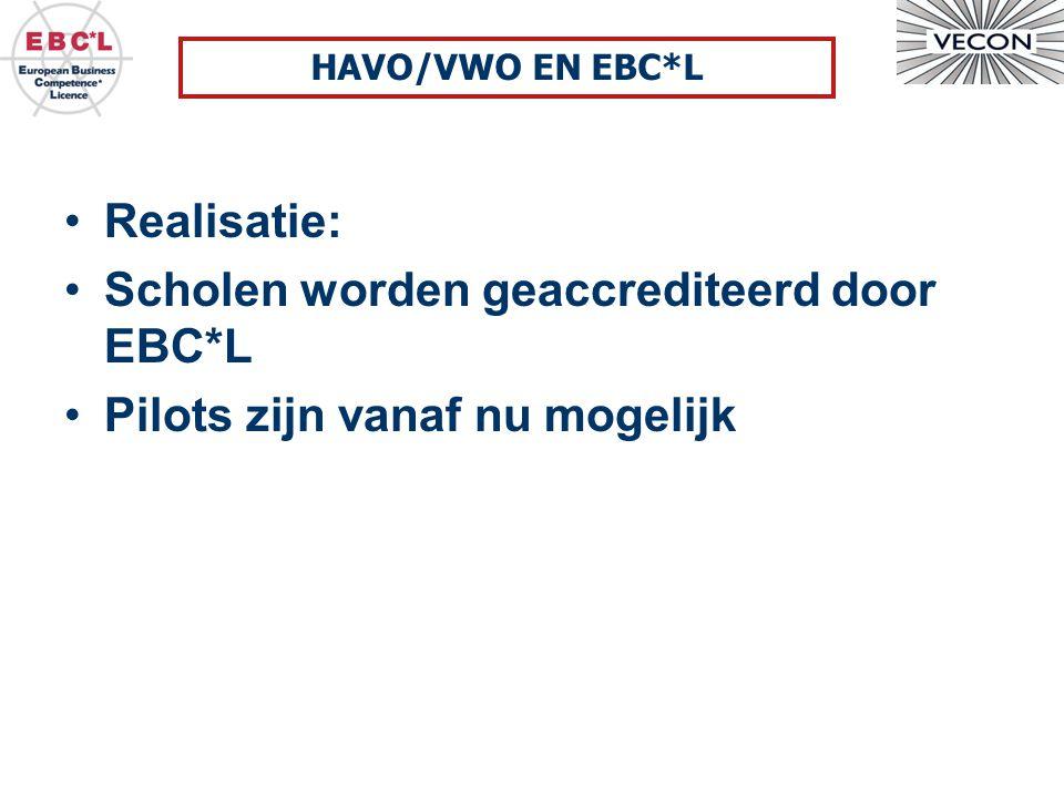 Realisatie: Scholen worden geaccrediteerd door EBC*L Pilots zijn vanaf nu mogelijk HAVO/VWO EN EBC*L