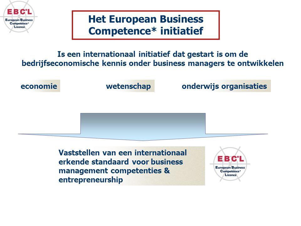 Is een internationaal initiatief dat gestart is om de bedrijfseconomische kennis onder business managers te ontwikkelen Vaststellen van een internationaal erkende standaard voor business management competenties & entrepreneurship economiewetenschaponderwijs organisaties Het European Business Competence* initiatief