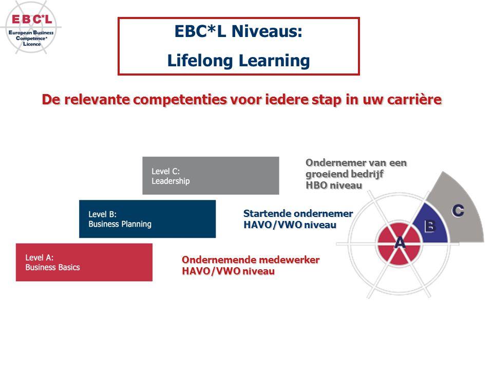 De relevante competenties voor iedere stap in uw carrière Startende ondernemer HAVO/VWO niveau Ondernemer van een groeiend bedrijf HBO niveau Ondernem