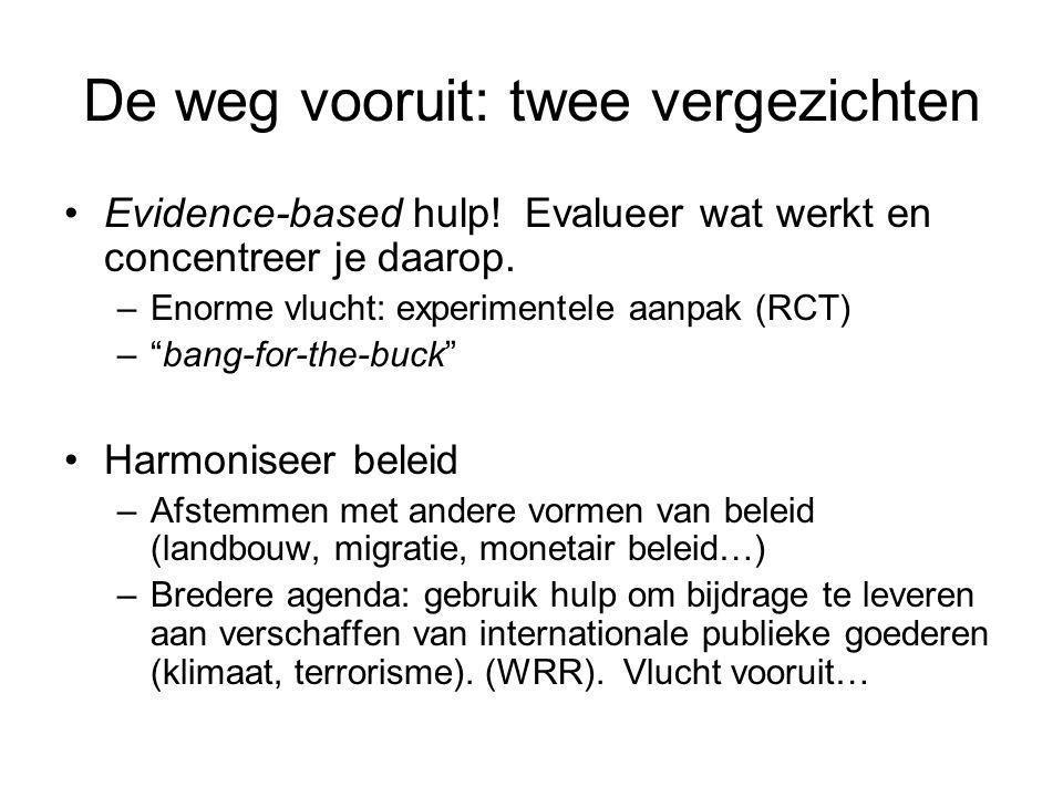 """De weg vooruit: twee vergezichten Evidence-based hulp! Evalueer wat werkt en concentreer je daarop. –Enorme vlucht: experimentele aanpak (RCT) –""""bang-"""