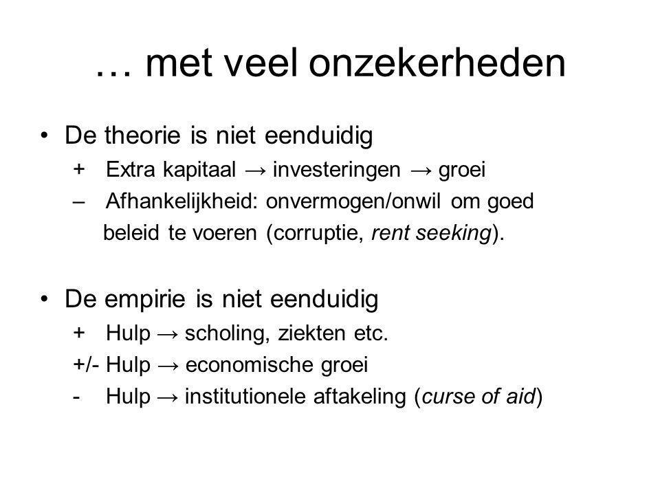 … met veel onzekerheden De theorie is niet eenduidig + Extra kapitaal → investeringen → groei – Afhankelijkheid: onvermogen/onwil om goed beleid te vo