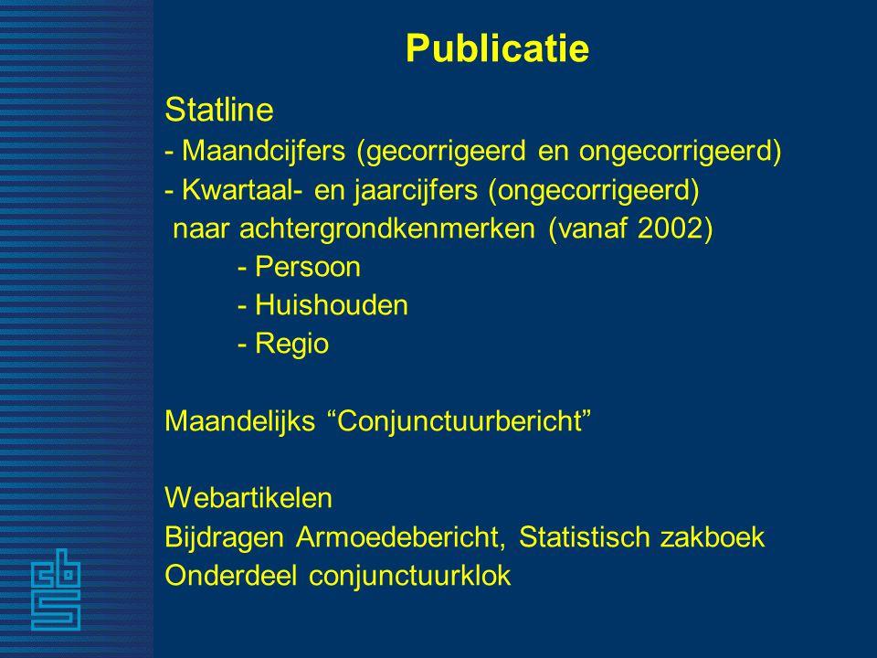 Publicatie Statline - Maandcijfers (gecorrigeerd en ongecorrigeerd) - Kwartaal- en jaarcijfers (ongecorrigeerd) naar achtergrondkenmerken (vanaf 2002)