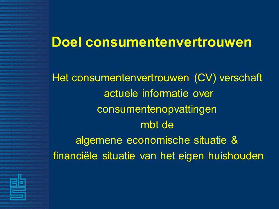 Doel consumentenvertrouwen Het consumentenvertrouwen (CV) verschaft actuele informatie over consumentenopvattingen mbt de algemene economische situati