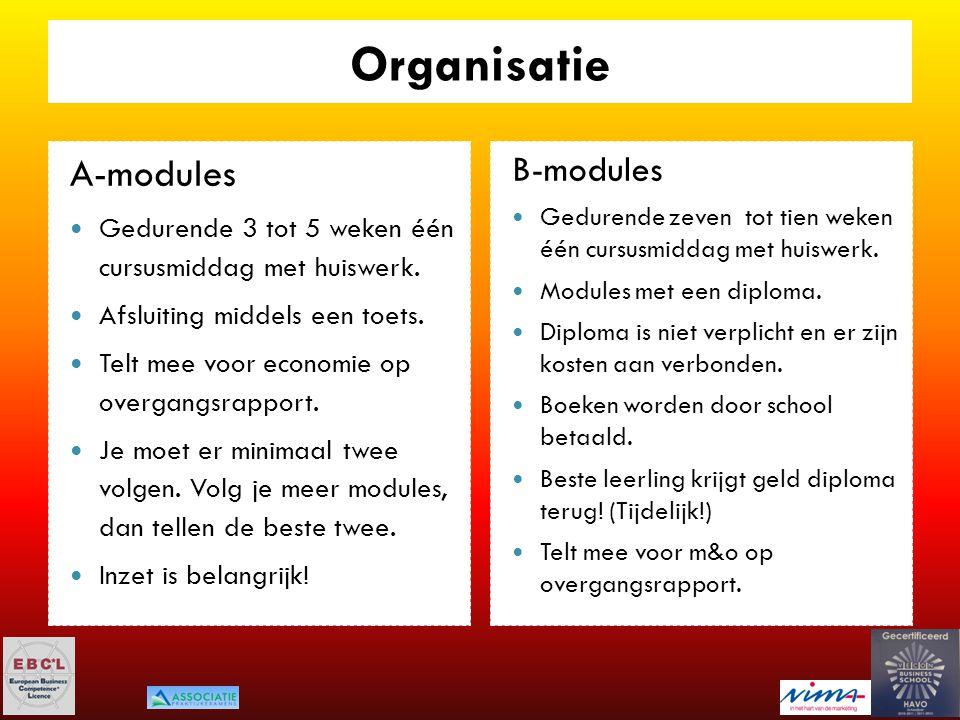 Organisatie A-modules Gedurende 3 tot 5 weken één cursusmiddag met huiswerk. Afsluiting middels een toets. Telt mee voor economie op overgangsrapport.