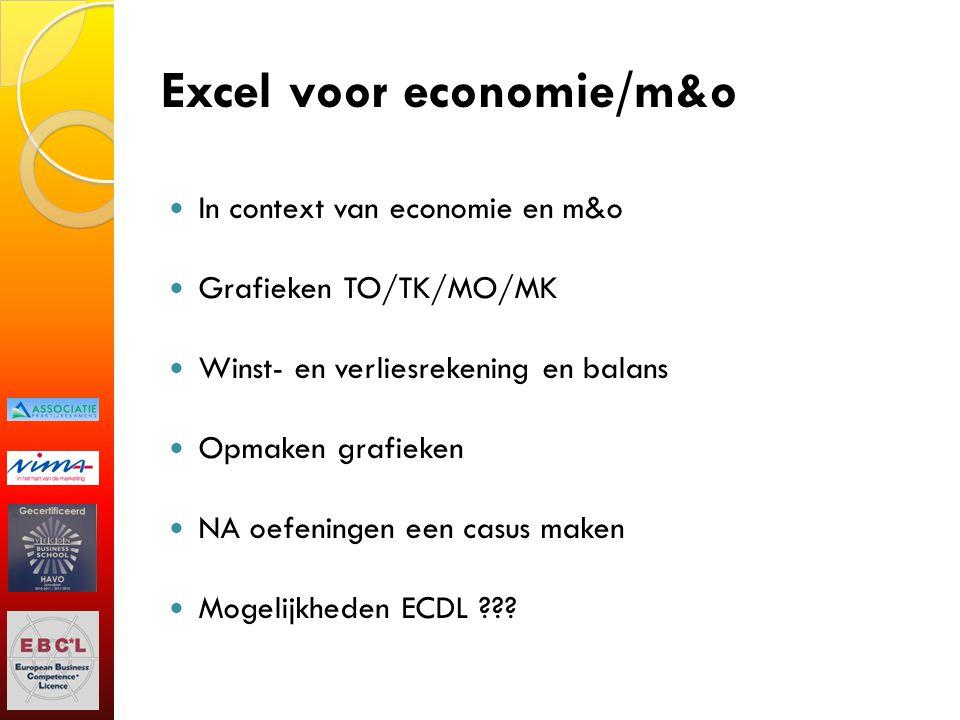 Excel voor economie/m&o In context van economie en m&o Grafieken TO/TK/MO/MK Winst- en verliesrekening en balans Opmaken grafieken NA oefeningen een c