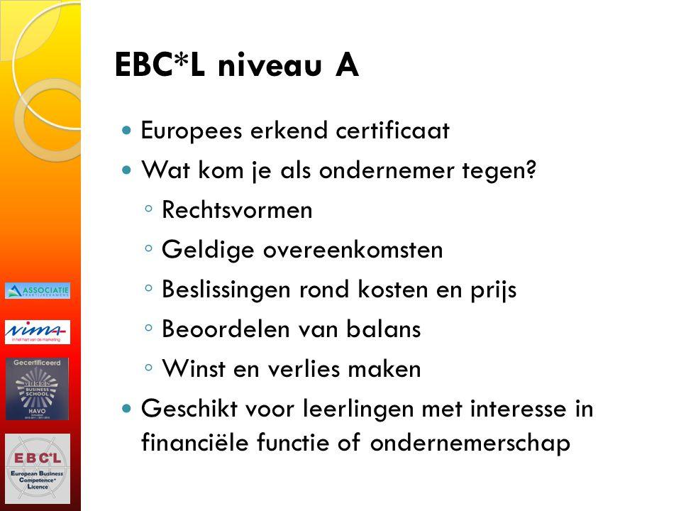 EBC*L niveau A Europees erkend certificaat Wat kom je als ondernemer tegen? ◦ Rechtsvormen ◦ Geldige overeenkomsten ◦ Beslissingen rond kosten en prij