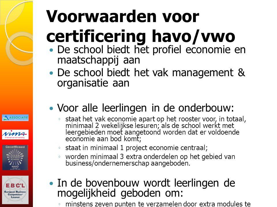 Voorwaarden voor certificering havo/vwo De school biedt het profiel economie en maatschappij aan De school biedt het vak management & organisatie aan