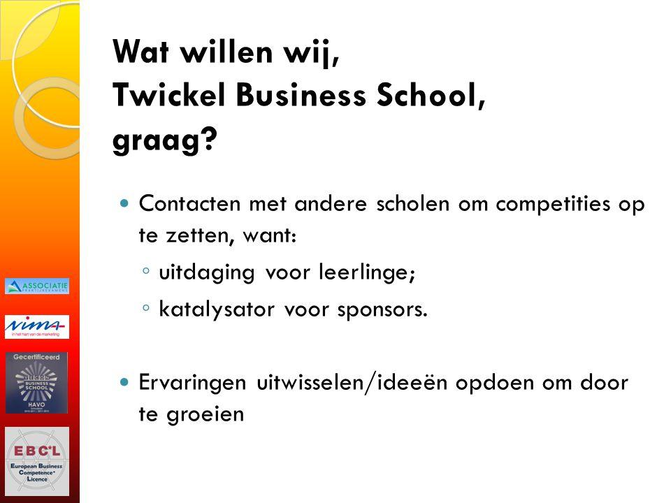 Wat willen wij, Twickel Business School, graag? Contacten met andere scholen om competities op te zetten, want: ◦ uitdaging voor leerlinge; ◦ katalysa