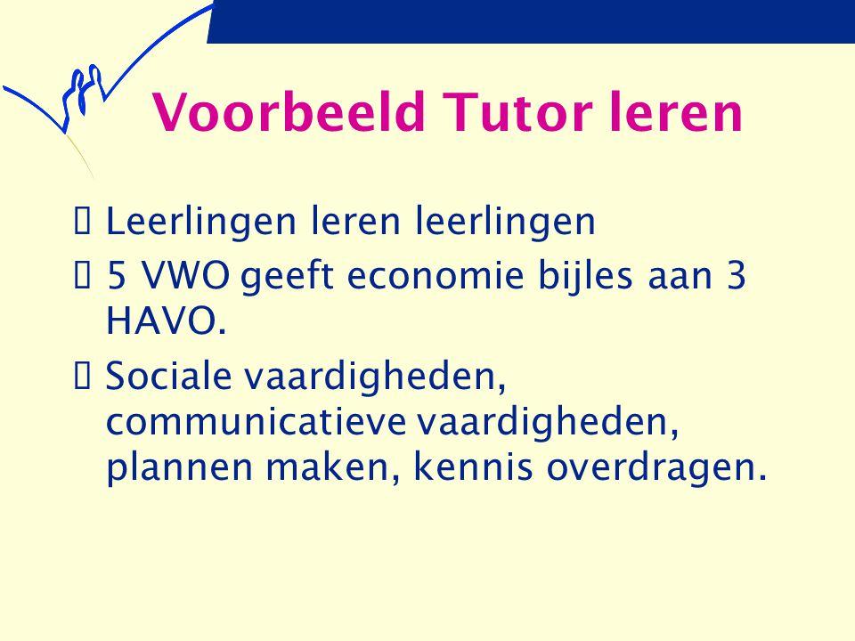 Voorbeeld Tutor leren  Leerlingen leren leerlingen  5 VWO geeft economie bijles aan 3 HAVO.  Sociale vaardigheden, communicatieve vaardigheden, pla
