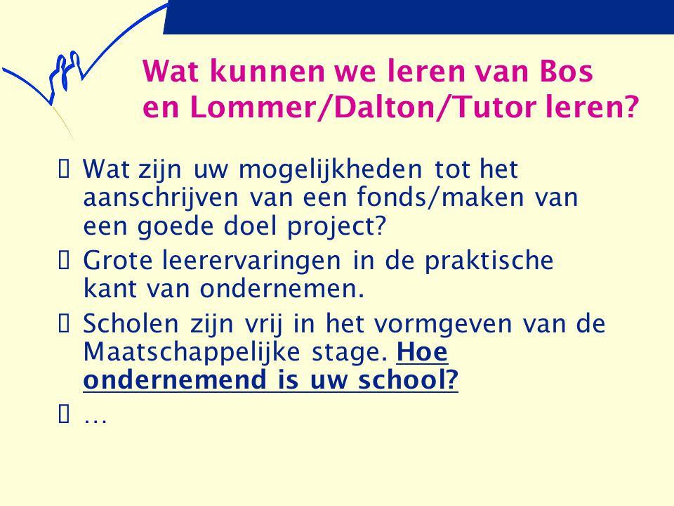 Wat kunnen we leren van Bos en Lommer/Dalton/Tutor leren?  Wat zijn uw mogelijkheden tot het aanschrijven van een fonds/maken van een goede doel proj