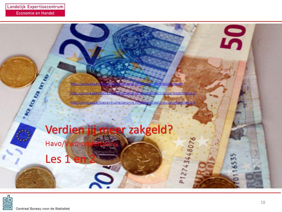 Verdien jij meer zakgeld? Havo/Vwo-onderbouw Les 1 en 2 18 http://www.expertisecentrumeconomie.nl/lesmateriaal/nieuwe-lessen http://www.expertisecentr
