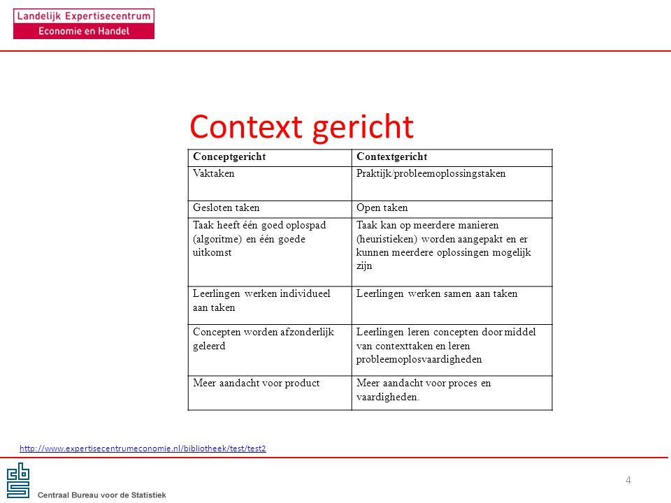 Context gericht 4 ConceptgerichtContextgericht VaktakenPraktijk/probleemoplossingstaken Gesloten takenOpen taken Taak heeft één goed oplospad (algorit